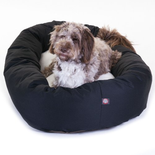 52 inch Black & Sherpa Bagel Dog Bed By Majestic Pet Product