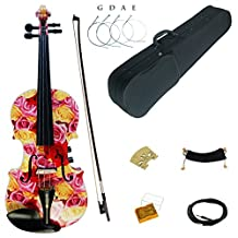 Kinglos 4/4 Yellow Pink Rose Colored Solid Wood Acoustic / Electric Violin Kit with Ebony Fittings Full Size (YSDS1003)