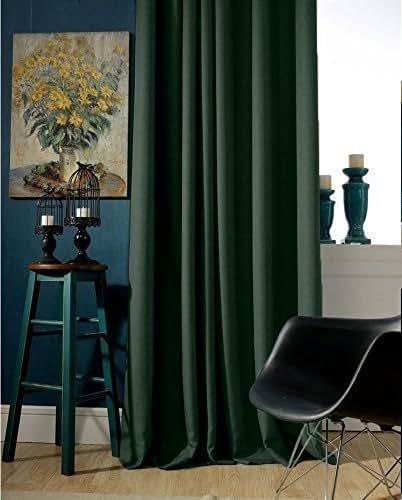 Amazon Curtains Blackout: Amazon.com: Dark Green Blackout Curtain Custom Drapery(Grommets Top): Handmade