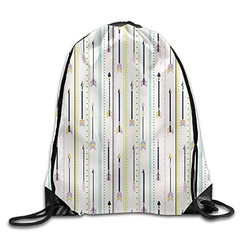 Weiding Geometric Pattern Colored Peak Borders Of Dots Arrows And Lines Art Drawstring Gym Sack Sport Bag For Men And Women
