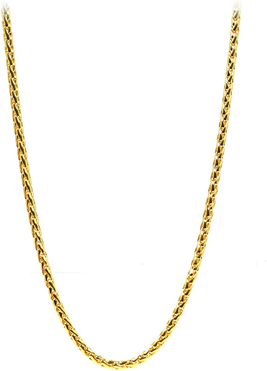 Nice! Braided Chain 24 inch Thai Baht Necklace 24k Gold Plated Jewelry Hand Made in Thailand