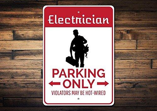 88BoydBertha Señal de estacionar Electricista, Señal de Electricidad, Regalo Electricista Decoración Electricista, Señal...