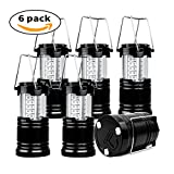 LED Camping Lantern - 6 Pack Camping Lantern, xtf2015 Super Bright Portable Outdoor LED Lantern with Magnet Base, Water Resistant Camping Lamp Suitable for Hiking, Fishing, Emergency (Black, Collapsible)