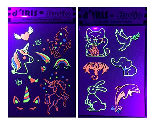 UV Glow Party Decoration Tattoos- Unicorns/Peace and Happiness-Blacklight Accessories Flash Neon Toy Game Glowsticks Favor Dark Nightclub Electric Dance Music Festival Concert EDM Underground Tattoo -