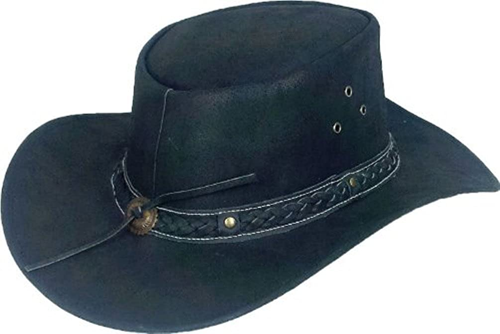 Real Leather Australian Cowboy Hat Aussie black Sun hat #7H