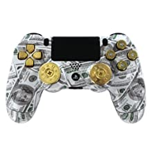"""""""Money Talks w/ShotGun Thumbsticks and Real Gold 9 mm Bullet Buttons"""" PS4 Custom Modded Controller Exclusive Design - COD Advanced Warfare, Destiny, GHOSTS Zombie Auto Aim, Drop Shot, Fast Reload &MORE"""