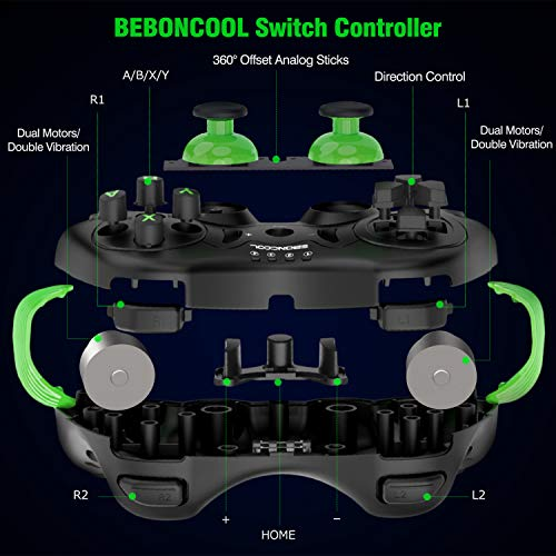 BEBONCOOL Switch Controller for Nintendo Switch/Switch Lite,Switch Pro Controller Support Adjustable Vibration for Nintendo Switch Controller,Wireless Switch Controller with Motion Control (Green)