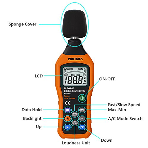 Digital Sound Level Meter, Protmex MS6708 Portable Digital Decibel Sound Level Meter Reader, Measurement Range 30-130 dBA, Accuracy 1.5dB, Noise Meter With Large LCD Screen Display Fast/Slow Selection by Protmex (Image #3)