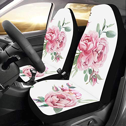 Peony Flower Pink Custom New Universal Fit Auto Drive Car Seat Covers Protector for Women Automobile Jeep Truck SUV Vehicle Full Set Accessories for Adult Baby (Set of 2 Front)
