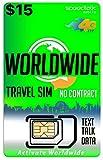 $15 Travel SIM Card Worldwide - International Talk Text Data on Over 200