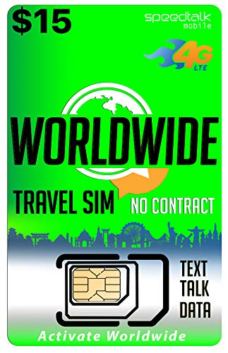 Worldwide Travel SIM Card - International Talk Text Data on Over 200 Countries - Compatible with All Unlocked GSM Phones (Best Calling Card For Europe)