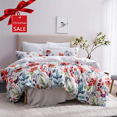 Leadtimes Duvet Cover Set Queen Duvet Cover Floral Boho Hotel Bedding Sets Comforter Cover with Soft Lightweight Microfiber 1 Duvet Cover and 2 Pillow Shams (Queen, Style2)