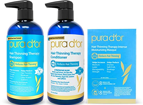 PURA D'OR Hair Thinning Therapy 3-piece Set, Shampoo, Conditioner & Masque for Best Results, Infused with Argan Oil, Biotin & Natural Ingredients, All Hair Types, Men & Women (Packaging may -