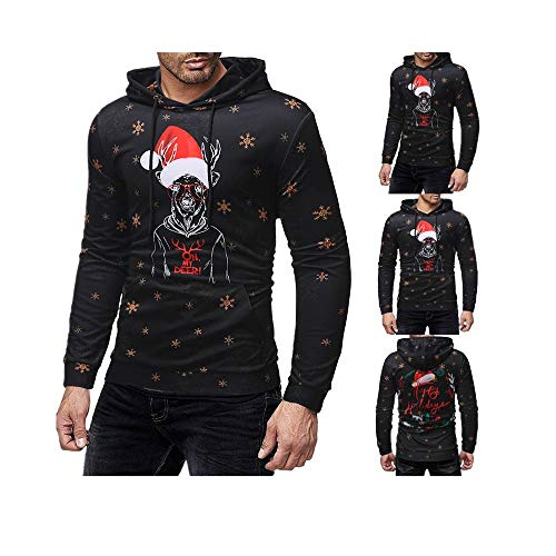 MEANIT Sweatshirt Tops, Mens Christmas Sweatshirt, Long Sleeve Hooded Sweatshirt Black ()
