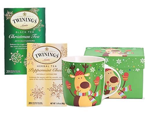 (Christmas Mug 12 oz, Whimsical Reindeer with Twinnings Peppermint Cheer and Christmas Tea Gift Set)