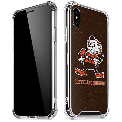Skinit Cleveland Browns Alternate Distressed iPhone X/XS Clear Case - Officially Licensed NFL Phone Case Clear - Transparent iPhone X/XS Cover