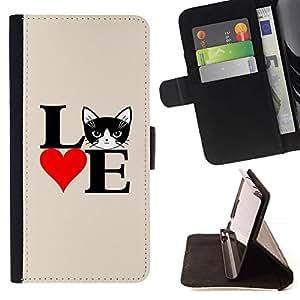 Momo Phone Case / Flip Funda de Cuero Case Cover - Gato del amor del corazón del cartel Negro Blanco; - Samsung Galaxy E5 E500