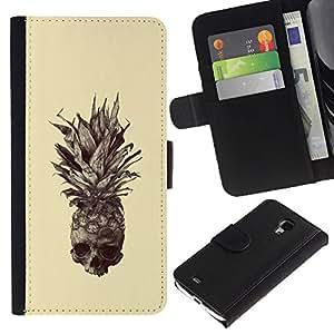 For Samsung Galaxy S4 Mini i9190 (NOT S4) Case , Skull Tattoo Art Drawing - la tarjeta de Crédito Slots PU Funda de cuero Monedero caso cubierta de piel