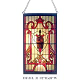HF-51L Tiffany Style Stained Glass Gothic Red Theme Rectangle Window Hanging Glass Panel Sun Catcher, 31.5''Hx20''W