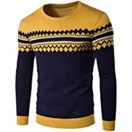 BCDshop Men's Boy Winter Fall Casual Printed Sweater Warm Knitting Tops Blouse Slim Fit
