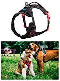 Kiko Pets Front Range Dog Harness, ID Tag Pocket, No-Pull Pet Harness Adjustable Outdoor Pet Vest with Reflective Oxford Material Vest for Dogs Easy Control for Small Medium Large Dogs Red Black Color