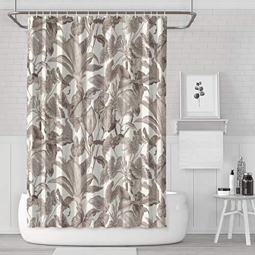 YIWNG Shower Curtain Tropical Leaves Wallpaper Jungle Leaf Gray Odorless Bath Curtain Bathroom for Touring Car ()