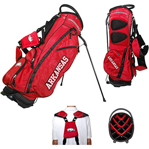 (Team Golf NCAA Arkansas Razorbacks Fairway Golf Stand Bag, Lightweight, 14-way Top, Spring Action Stand, Insulated Cooler Pocket, Padded Strap, Umbrella Holder & Removable Rain Hood)