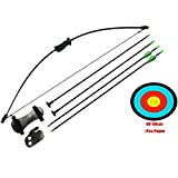 PG1ARCHERY Archery Bow and Arrow Set, Basic Takedown Practice Outdoor Game Sports Toy Gift Bow Kit with Suction Cup Arrows, Target, Arm Guard & Finger Guard for Kids Youth Children Beginners Black