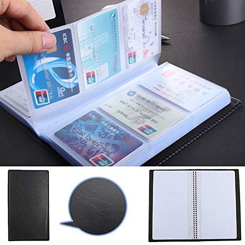 (Business Name Card Holder Pulison Black Leather 120 Pages Book Wallet Cover Case Pouch Folder Light and Convenient for Business)