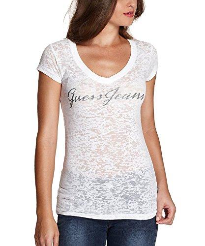 Guess Womens V neck Burnout T shirt