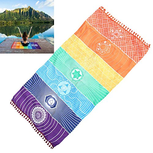 Beach Mat,Han Shi Hot Fashion Rainbow Blanket Wall Hanging Tapestry Stripe Yoga Towel (A, Multicolor)