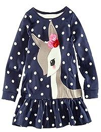 Cute Deer Polka Dots Girl Dress Children Kids Clothing Long Cotton Top T-Shirt