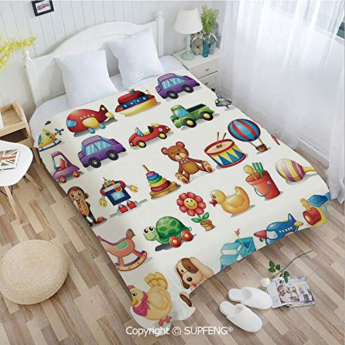 Camping Blanket Cartoon Toys Print Drum Rocking Horse Plane Robot Carsken Teddy Bear Art Pattern(W31.5xL47.3 inch ) Easy Care Machine Wash for Bedroom/Living Room/Camping - Teddy Minky
