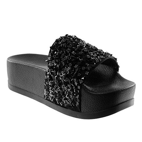 Cm Moda on Mules Strass Chanclas 5 Angkorly Zapatillas Slip Negro Brillantes 2 Mujer Plataforma 4 Sandalias Bq5xOwpX