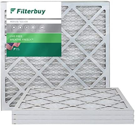 FilterPurchase 20x20x1, Pleated HVAC AC Furnace Air Filter, MERV 8, AFB Silver, 4-Pack