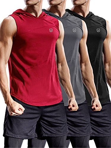 Neleus 3 Pack Workout Athletic Gym Muscle Tank Top With Hoods,5036,Black,Grey,White,US L,EU XL