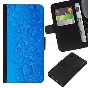 KLONGSHOP // Tirón de la caja Cartera de cuero con ranuras para tarjetas - galletas virus píldora ciencia ficción océano planeta azul - Sony Xperia Z1 L39 //
