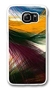 VUTTOO Rugged Samsung Galaxy S6 Edge Case, Colorful Peacock Feathers White Plastic Hard Case Back Cover for Samsung Galaxy S6 Edge