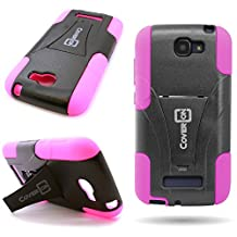 One Touch Fierce 2 Case, CoverON® for Alcatel One Touch Fierce 2 / Pop Icon A564c Hybrid Kickstand Case [Dual Defense] Hard Heavy Duty Protective Shockproof Phone Cover - Black / Hot Pink