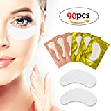 #3: Eye Gel Pads, 90 Pairs Lash Extension Pads, Eyelash Extension Supplies Lint Free under Eye Gel Patches with 2 Colors for Makeup by LK LANKIZ