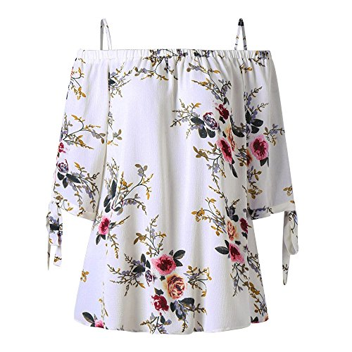- Womens Plus Size Floral Print Top Tee XL-5XL,Casual Spaghetti Cami 3/4 Sleeve Side Tie Bandeau Cold Shoulder T-Shirt Blouse White