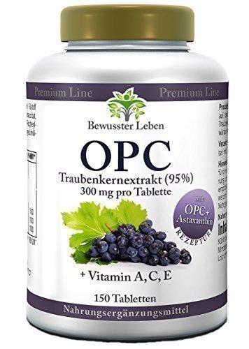 Biomenta® OPC - 900 mg Traubenkernextrakt - Vitamin A, C, E - 150 OPC Tabletten