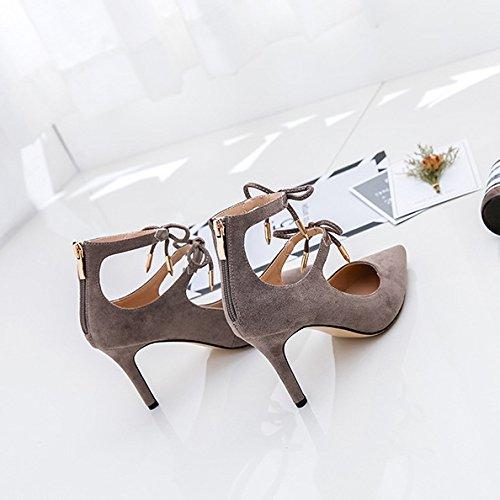 Femmes Cravates Sexy Haute Talons Romain Chaussures Parti Pompes De Mariage Dames Beaux Bout Pointu Chaussures Kaki w8JWonbJZe