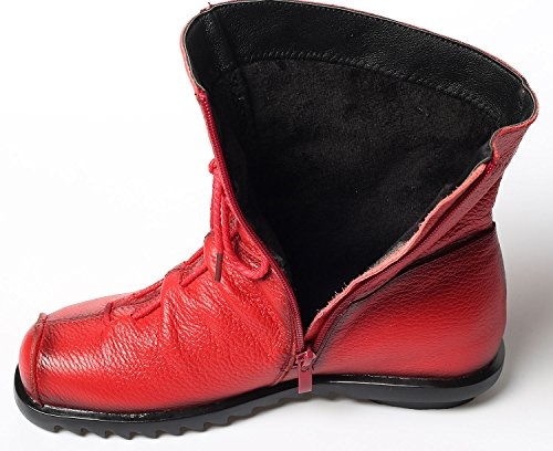 Red Flat Soft Leather Women's Boots Handmade Vogstyle Shoes xwX40PanqT
