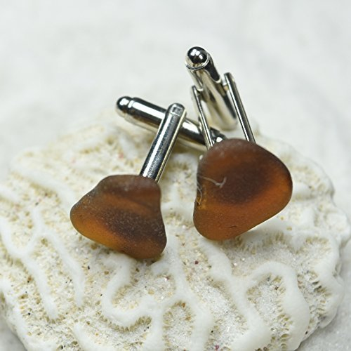 Custom Genuine Surf Tumbled Brown Sea Glass Cufflinks - 1 Set
