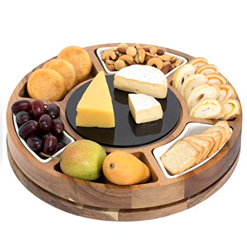 (Shanik Round Shaped Cheese Board, Charcuterie Board Set Made from Acacia Wood, Rotating Cheese Serving Platter, Double Sided Marble Plate Black/White, 3 Ceramic Bowls, Unique Gift)