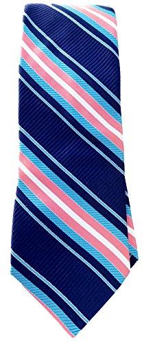 London Silk Necktie (Men's Ted Baker London Stripes Design Silk Tie, Size Regular 3T971501- Navy)