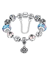 Presentski Birthday Gift Snake Chain with 925 Sterling Silver Glass Bead Bracelet with Safety Chain Blue Color for Teen Girls Women