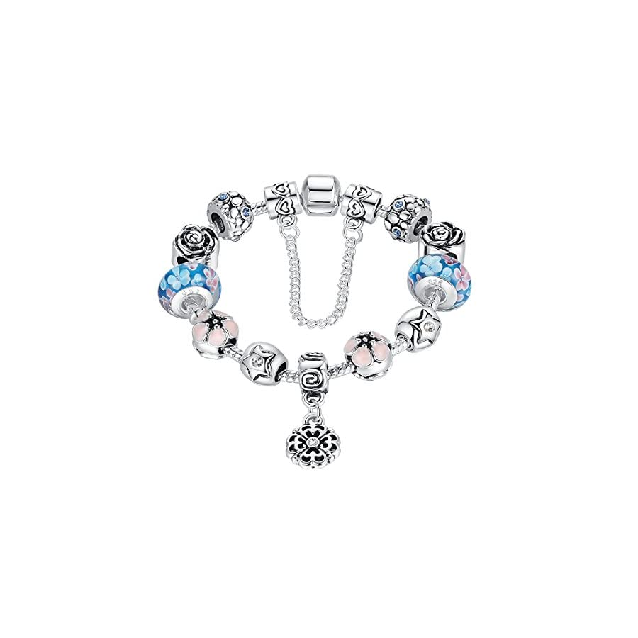 Presentski Charm Bangle Bracelet Silver Plated with Colorful Cubic Zirconia for Women