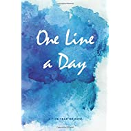 One Line a Day Journal: A Five Year Memoir, 6x9 Lined Diary, Watercolor (Journals, Notebooks and Diaries)